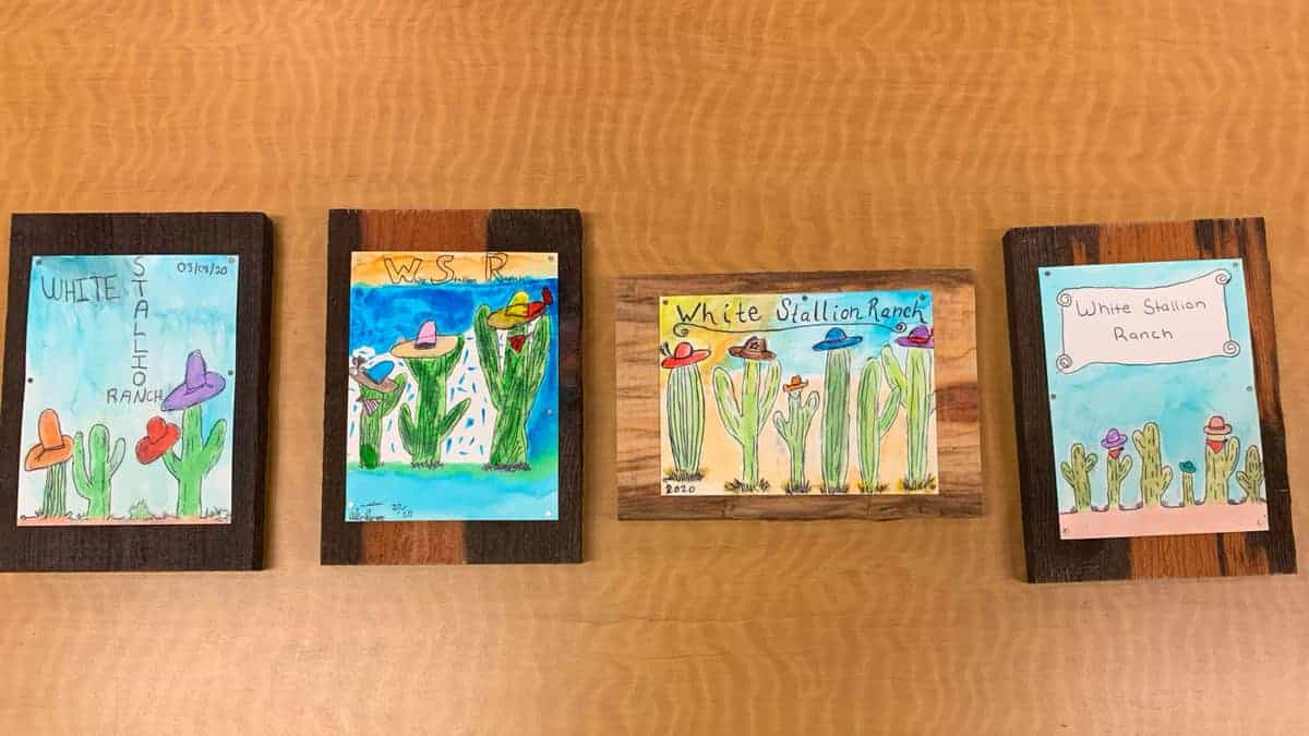 White Stallion Ranch, the Best All-Inclusive Resort in Arizona showing four finished watercolor pictures.