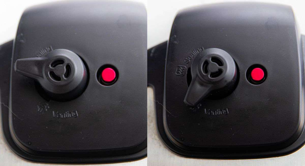 An instant pot cover shown split screen showing the different between sealing and venting on the valve.