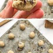 oatmeal cookie dough bites shown on a baking sheet.