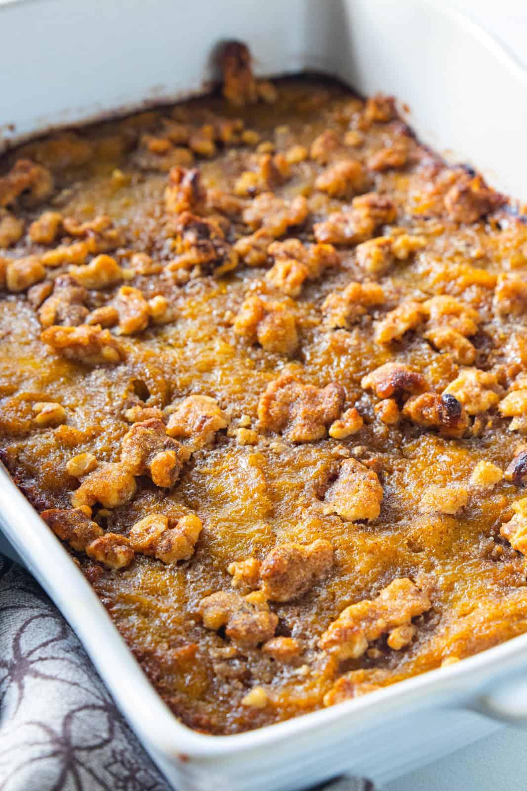 A close up of Sweet potato casserole