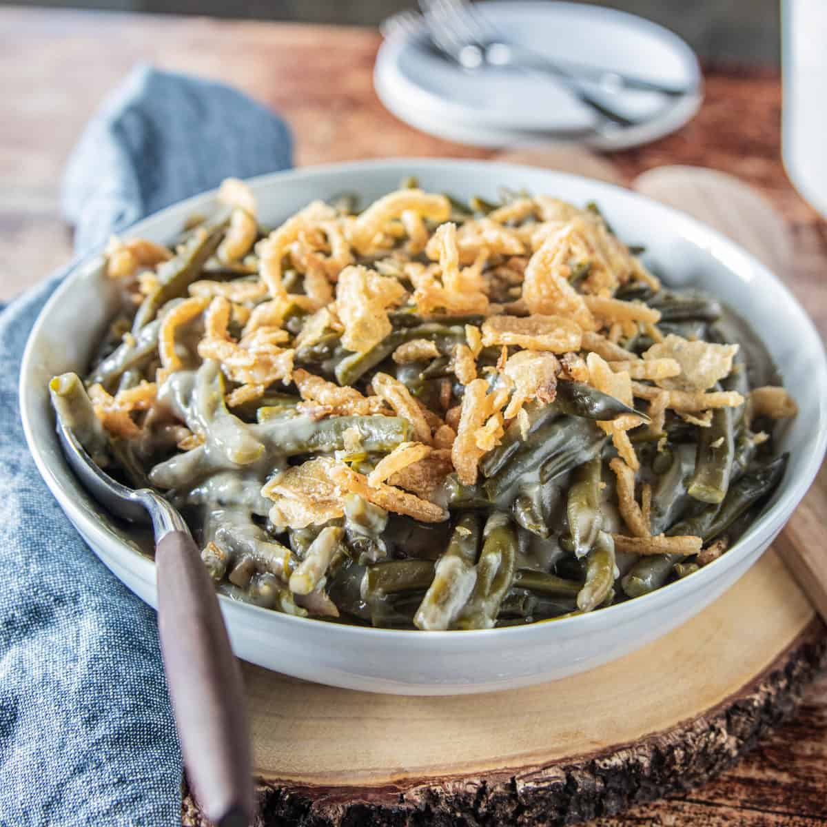 A bowl of green bean casserole.