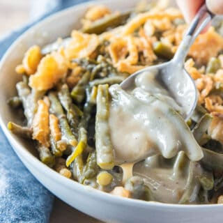 A bowl of creamy green bean casserole