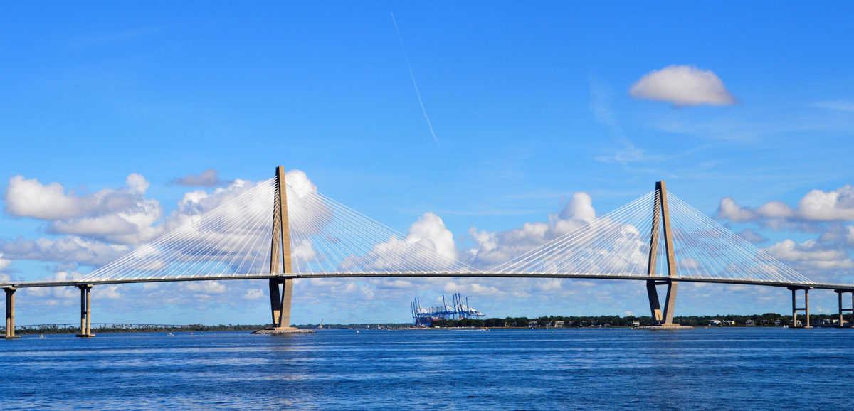 A long bridge over water in Charleston NC.