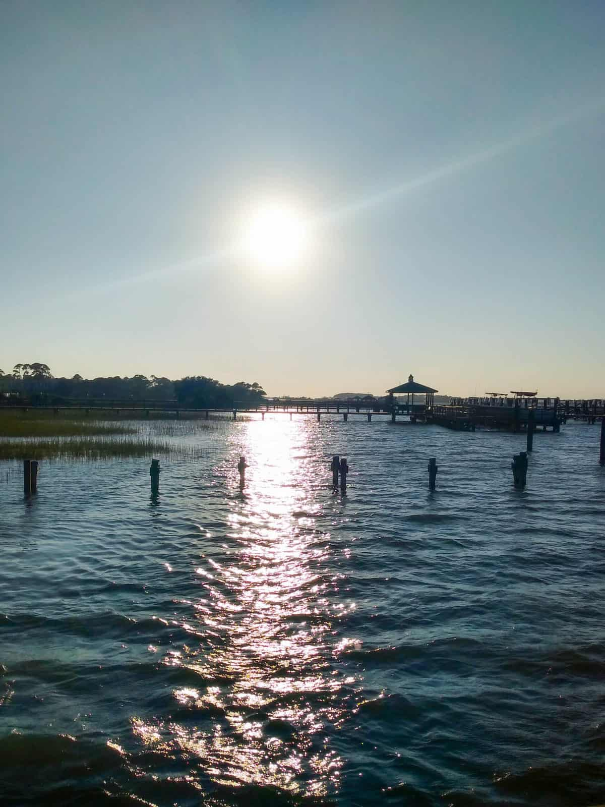 A sunrise over water in Charleston NC.