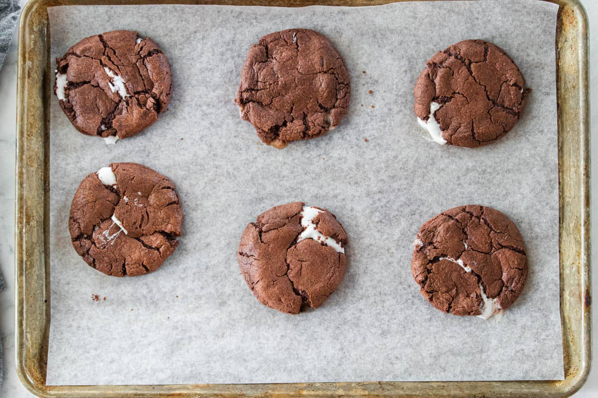 Chocolate marshmallow cookies being shown on a baking sheet.