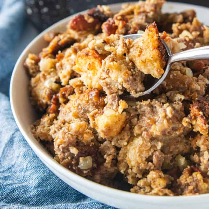 A close up of a bowl of stuffing