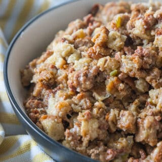 thanksgiving stuffing in a bowl
