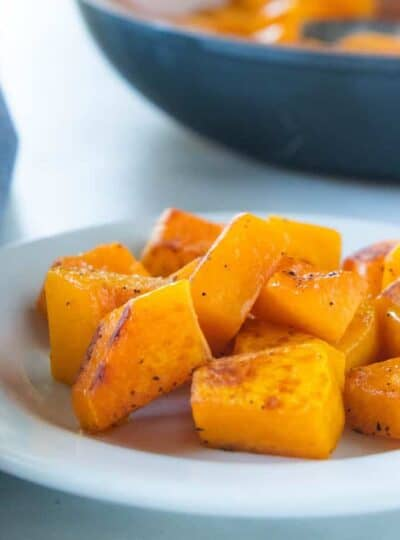 cooked squash on a plate.