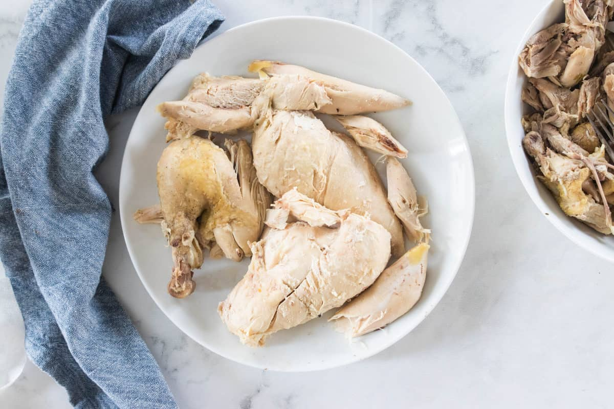 Boiled chicken being shown in a white bowl on top of a countertop.