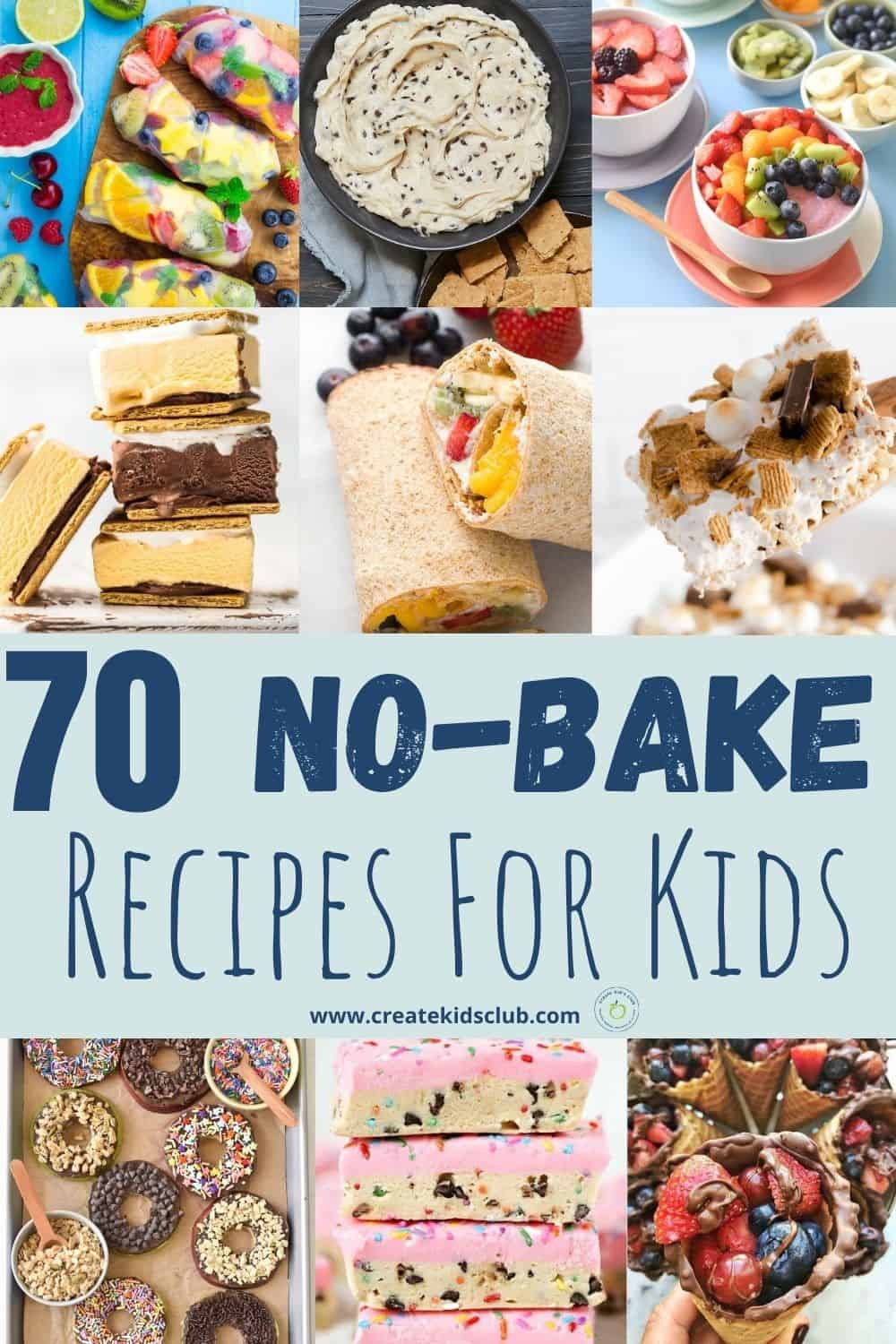 A variety of no bake recipes for kids.