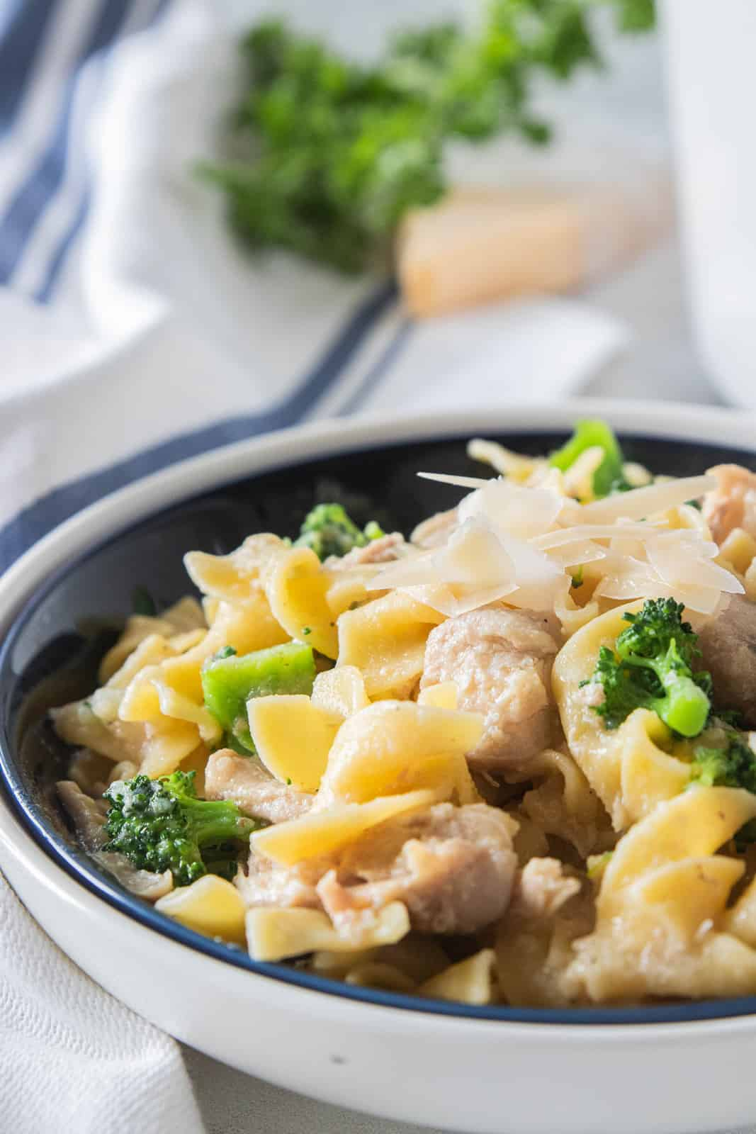 Chicken and noodles in a serving bowl.