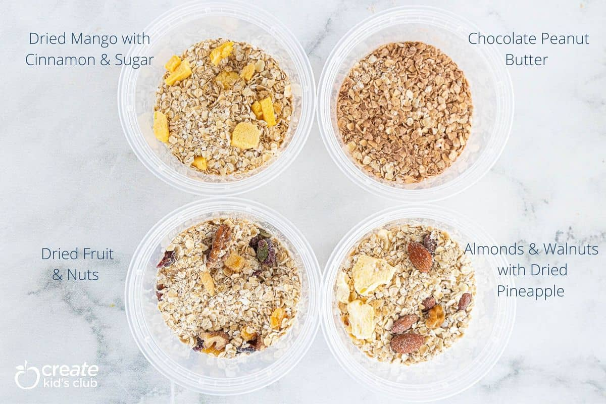 A variety of homemade instant oatmeal flavors in containers.