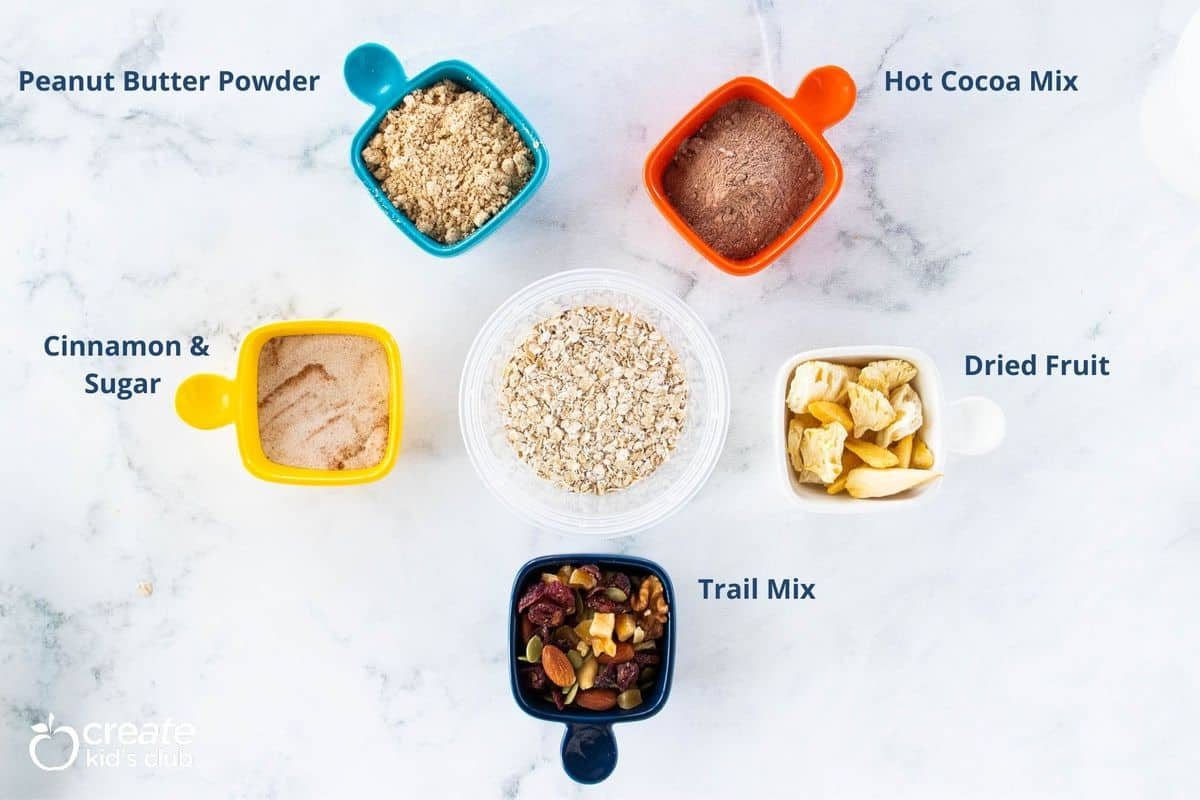 A variety of toppings for homemade instant oatmeal.