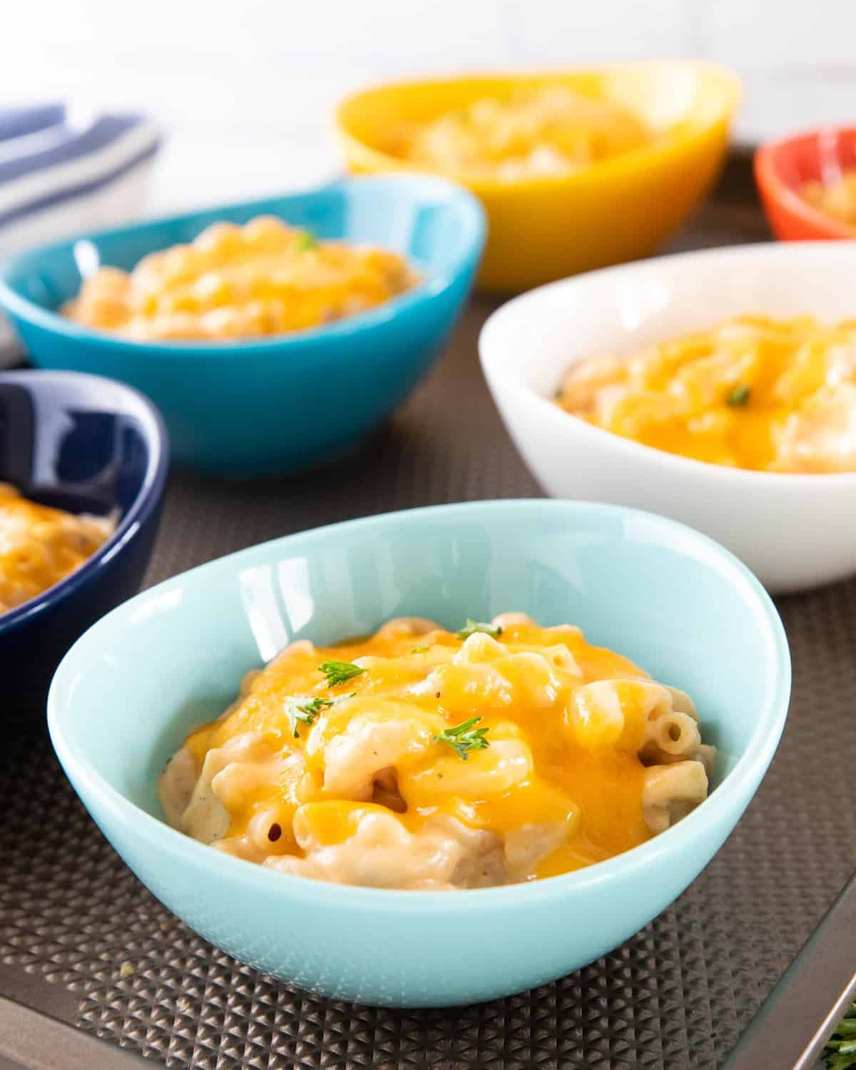 Six bowls of low sodium Mac and cheese.