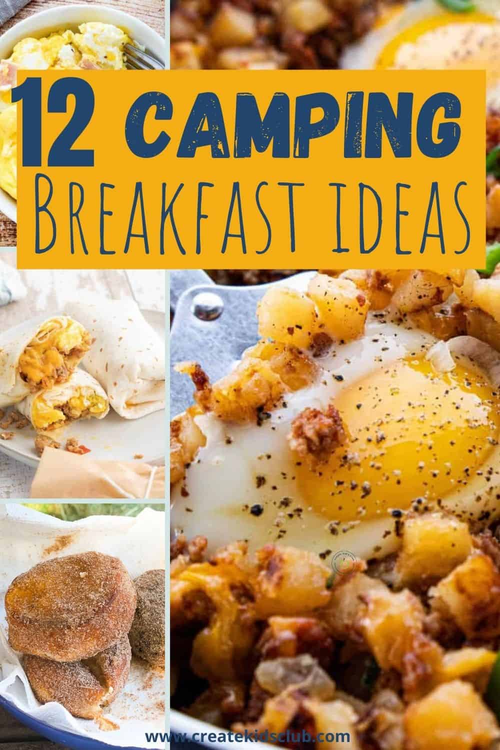 pictures of camping breakfasts including doughnuts, burritos, and an egg scramble.