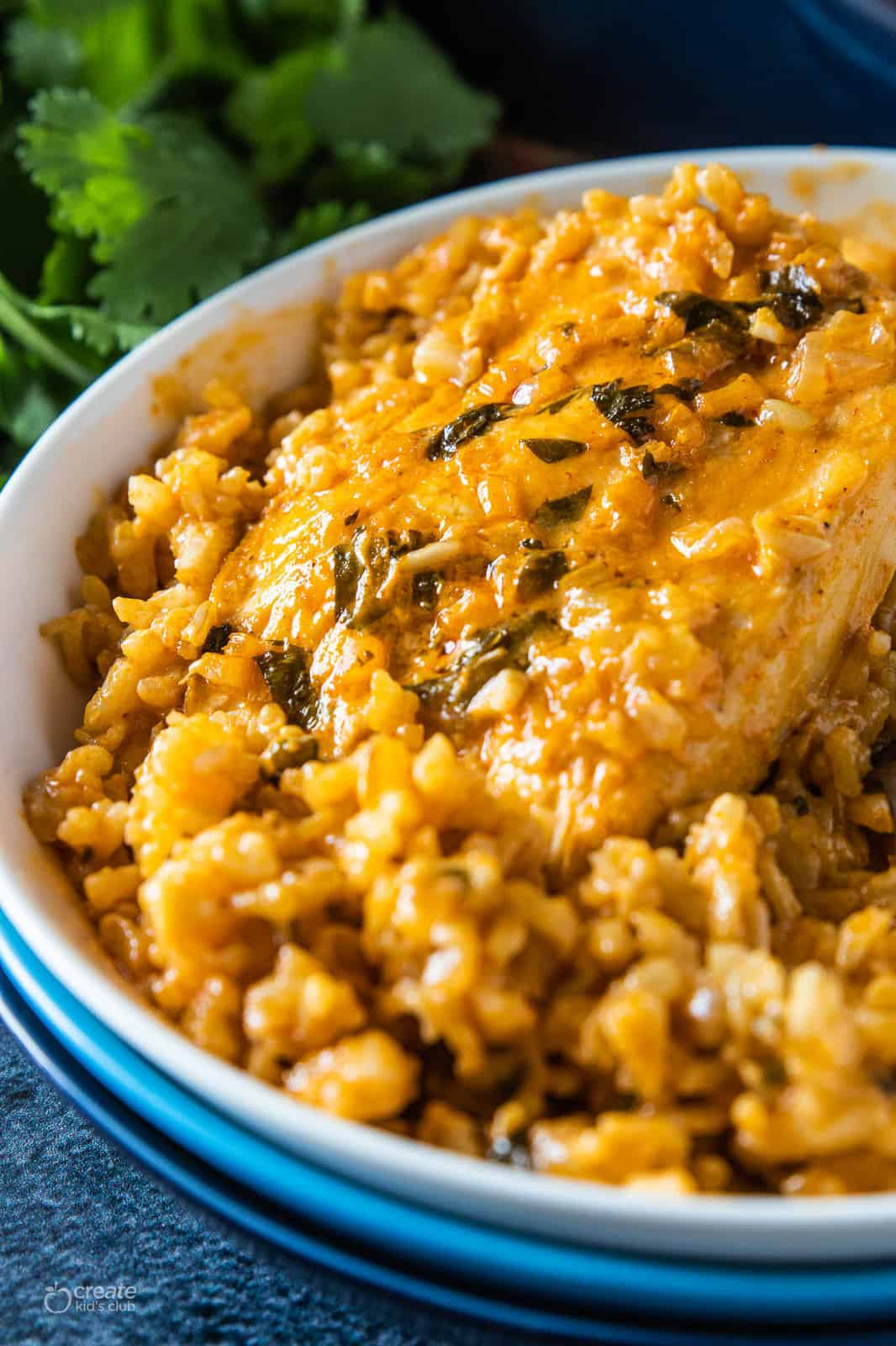 baked chicken and brown rice in a dish