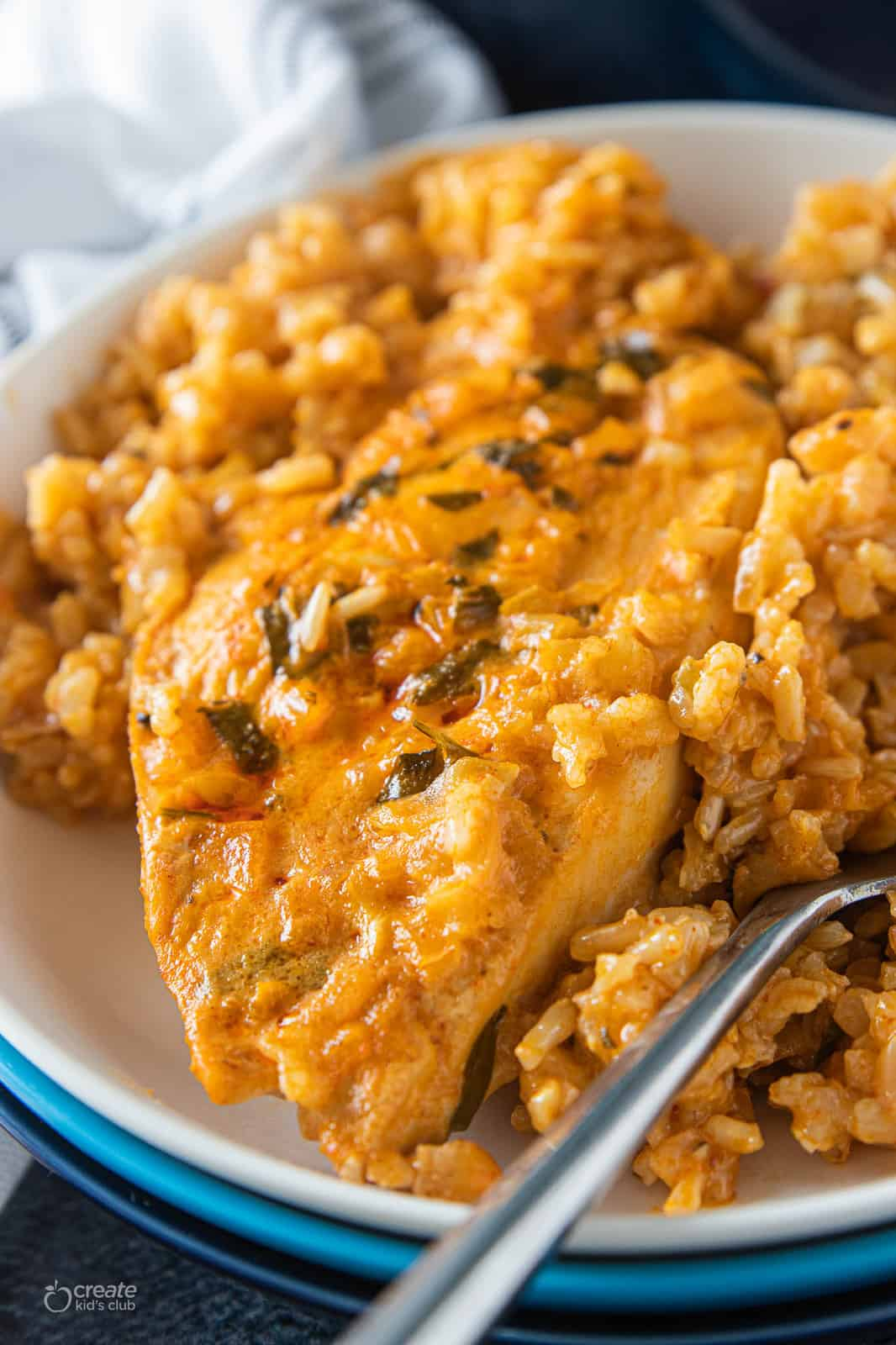 Chicken and rice in oven