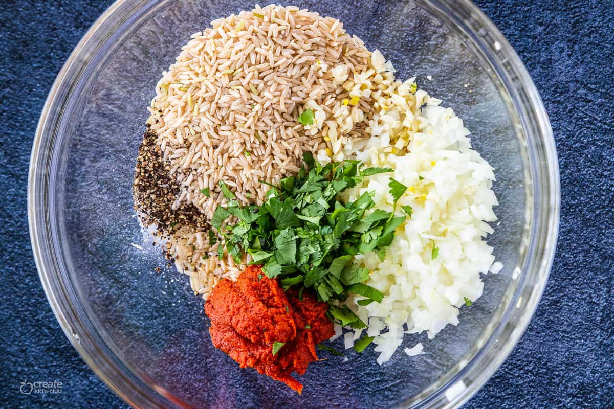 ingredients in a mixing bowl for brown rice casserole