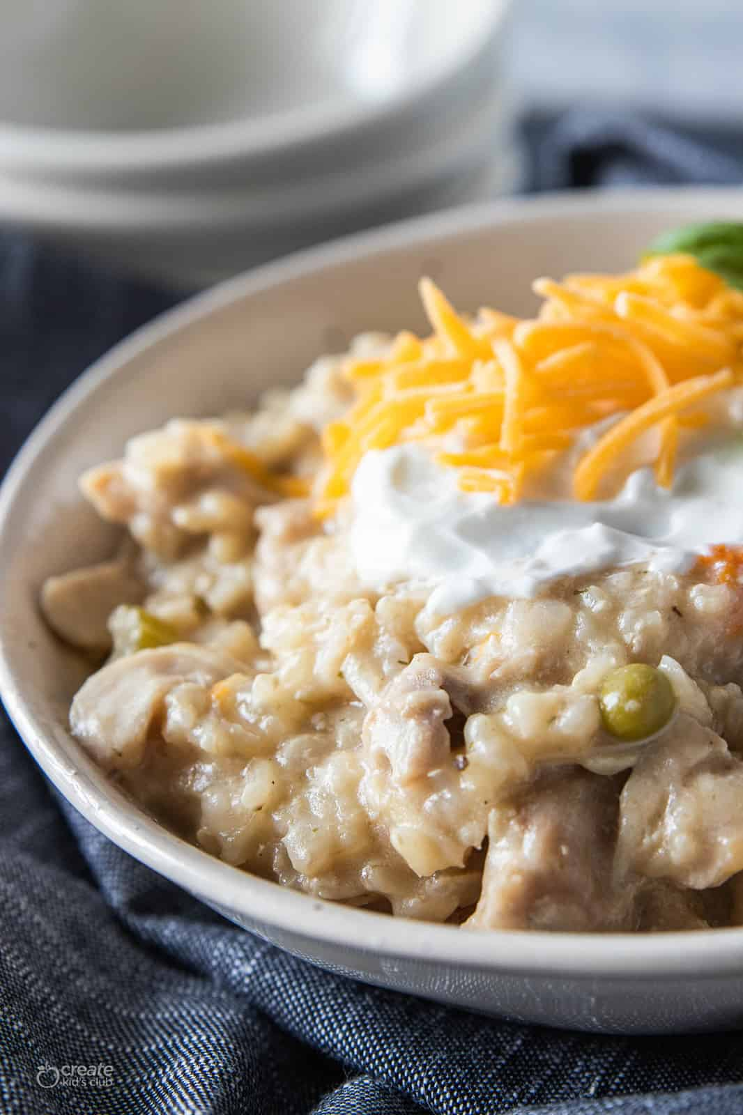 healthy chicken and rice crock pot recipe in a bowl