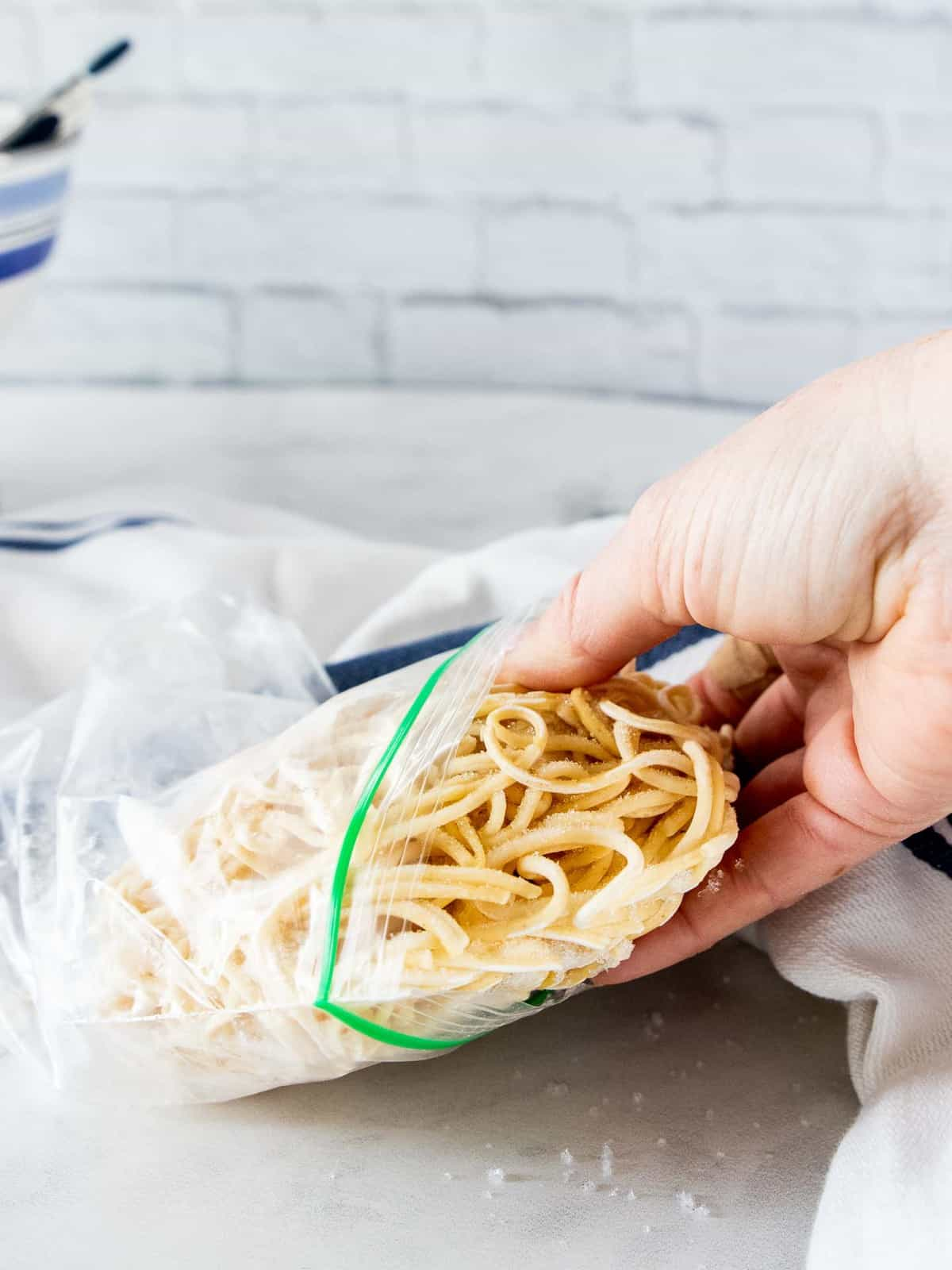 Frozen pasta removed from bag.