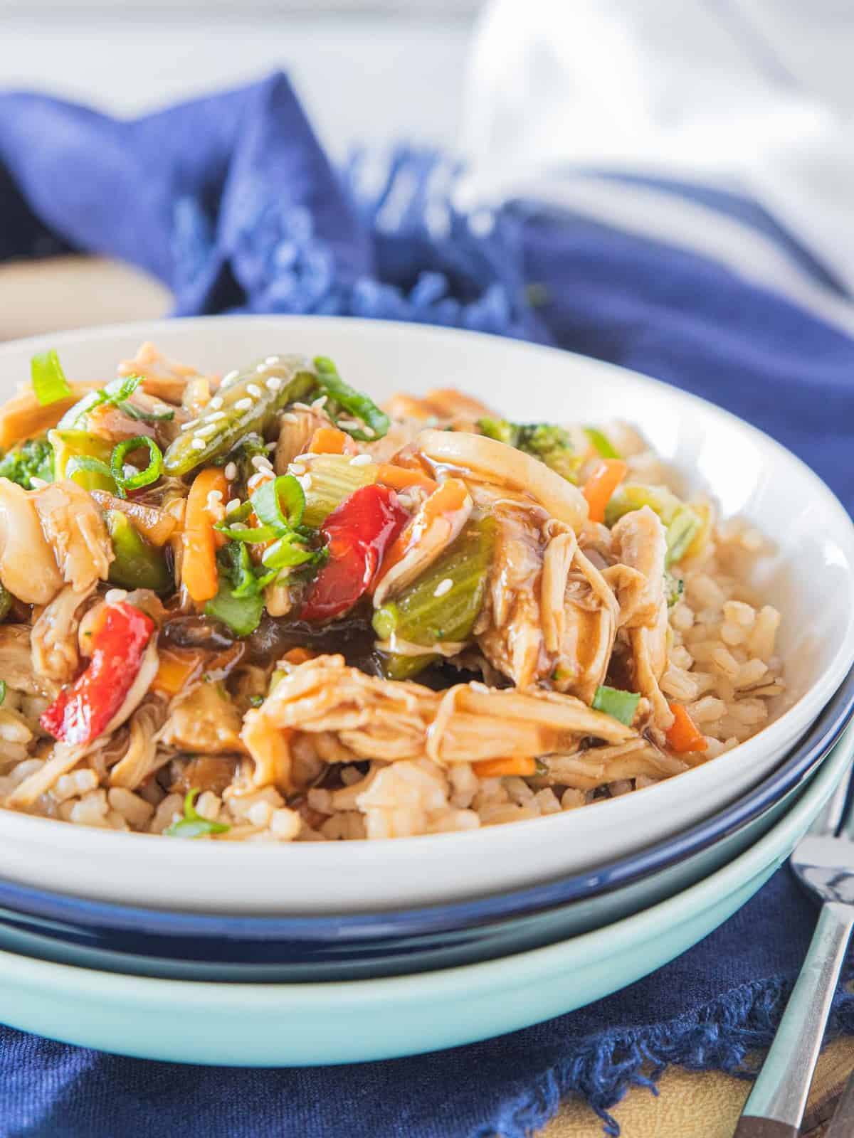Instant pot chicken stir fry in a bowl.