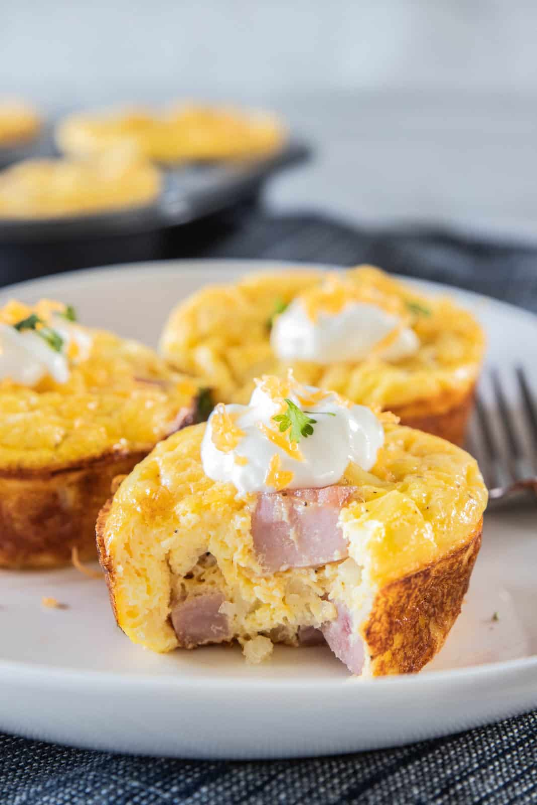 ham and cheese egg cup on plate