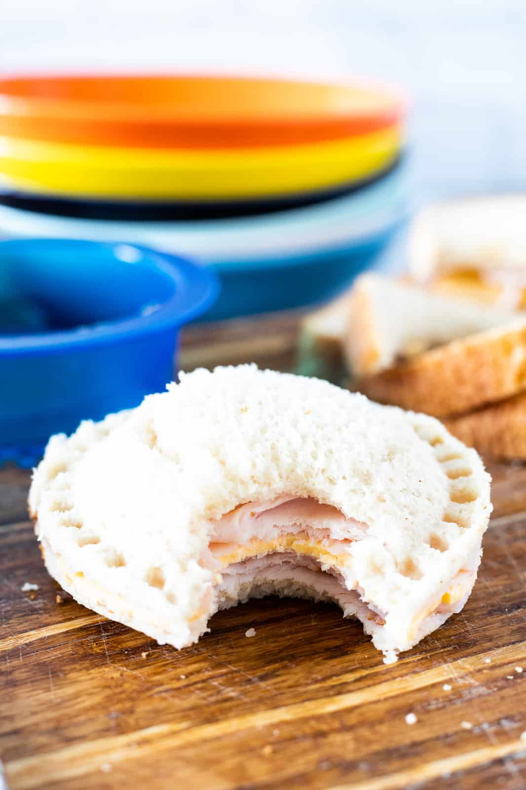 ham and cheese uncrustable on counter