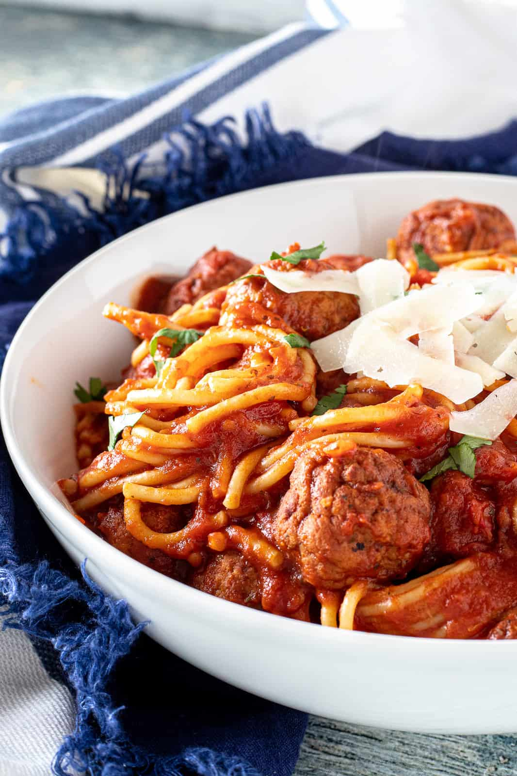 instant pot spaghetti and meatballs in a serving bowl