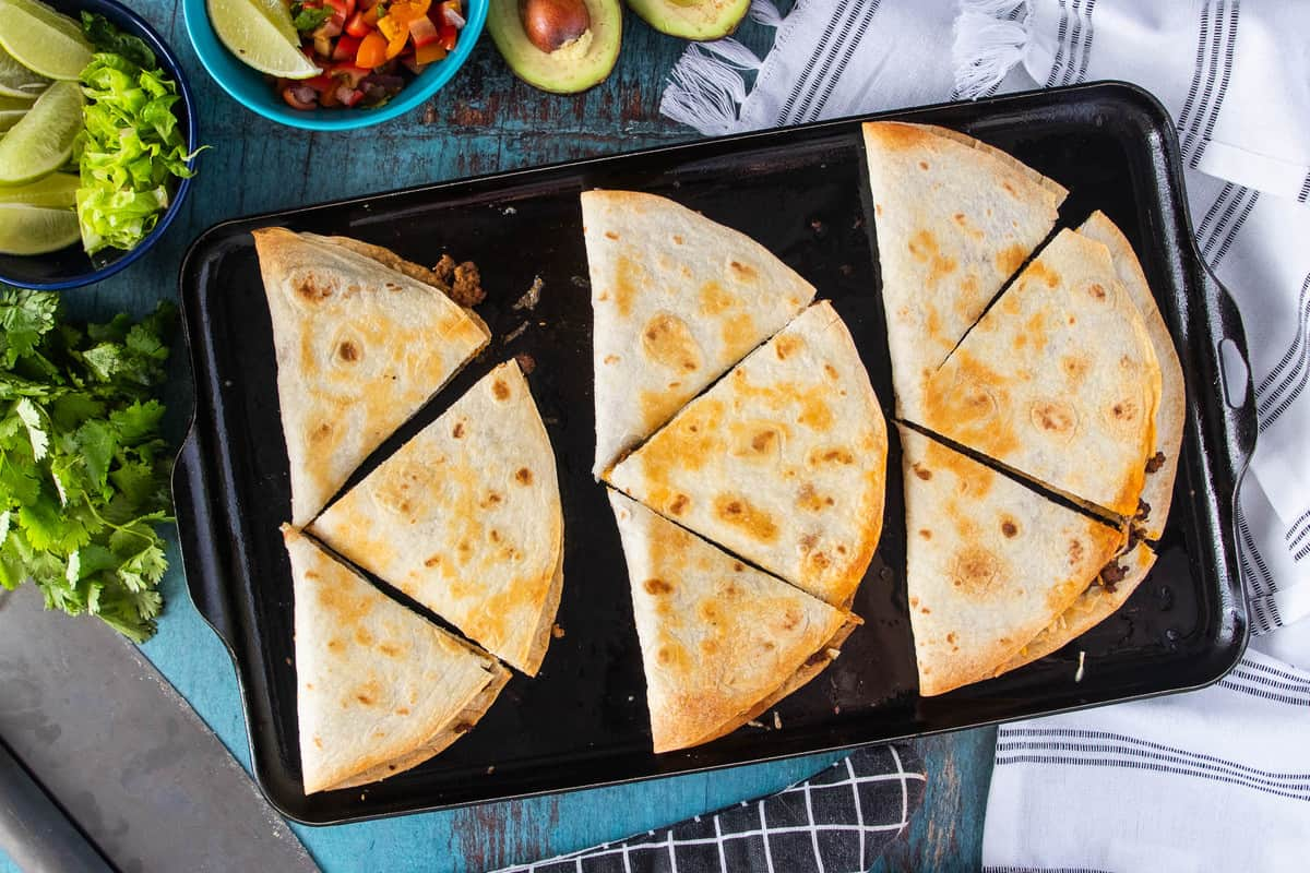 quesadillas sliced into pieces