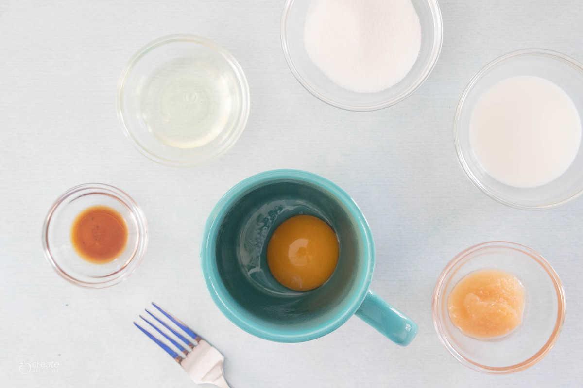 ingredients for an easy vanilla mug cake
