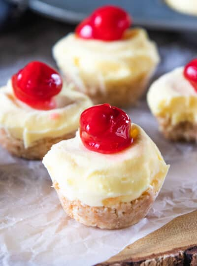 frozen cheesecake bites topped with cherries