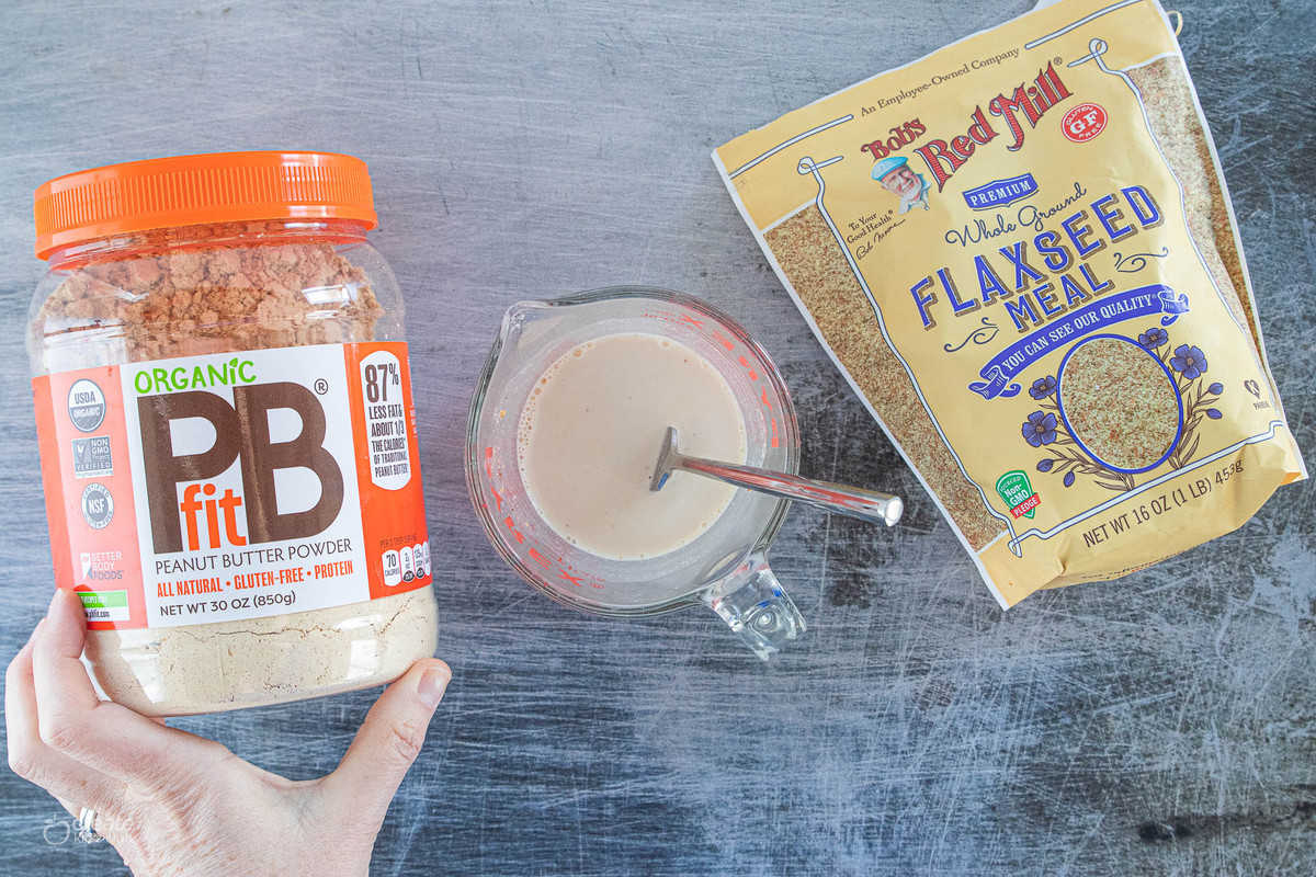 peanut butter powder, flaxseed meal and milk