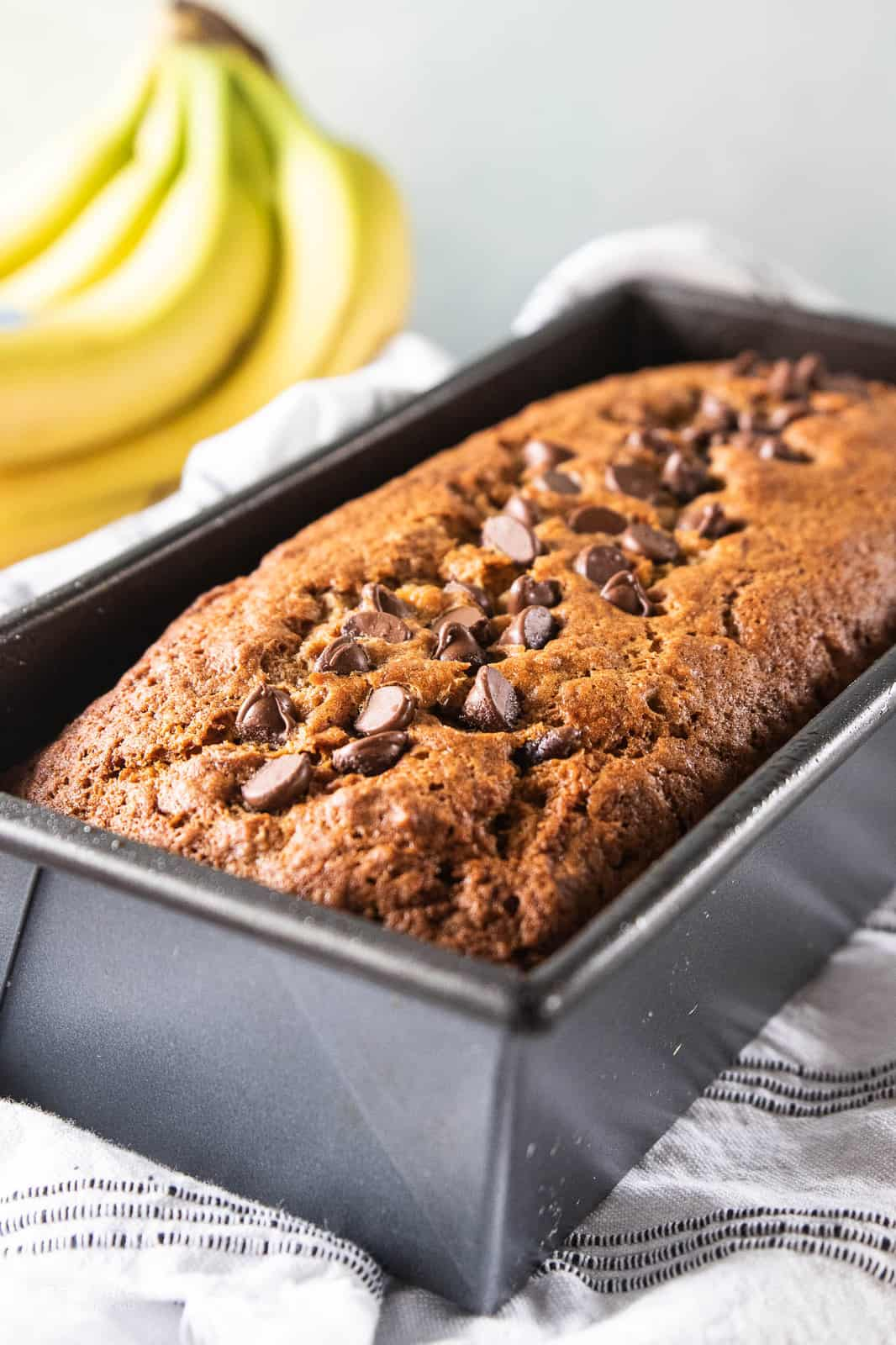 chocolate chip banana bread baked in loaf pan