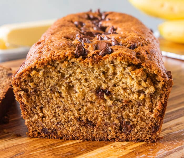 whole wheat chocolate chip banana bread loaf