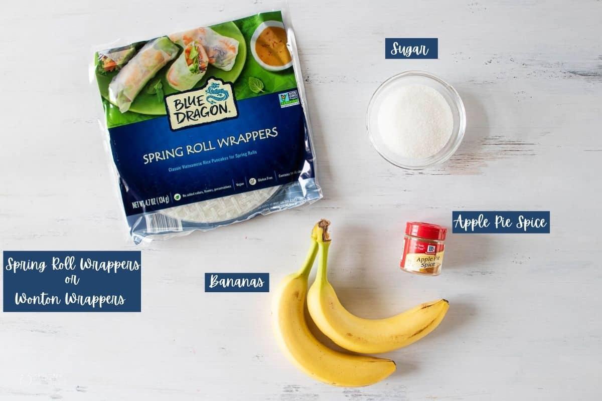ingredients for banana spring rolls