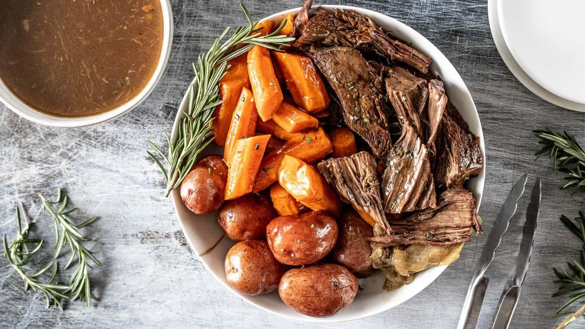 pot roast in serving bowl