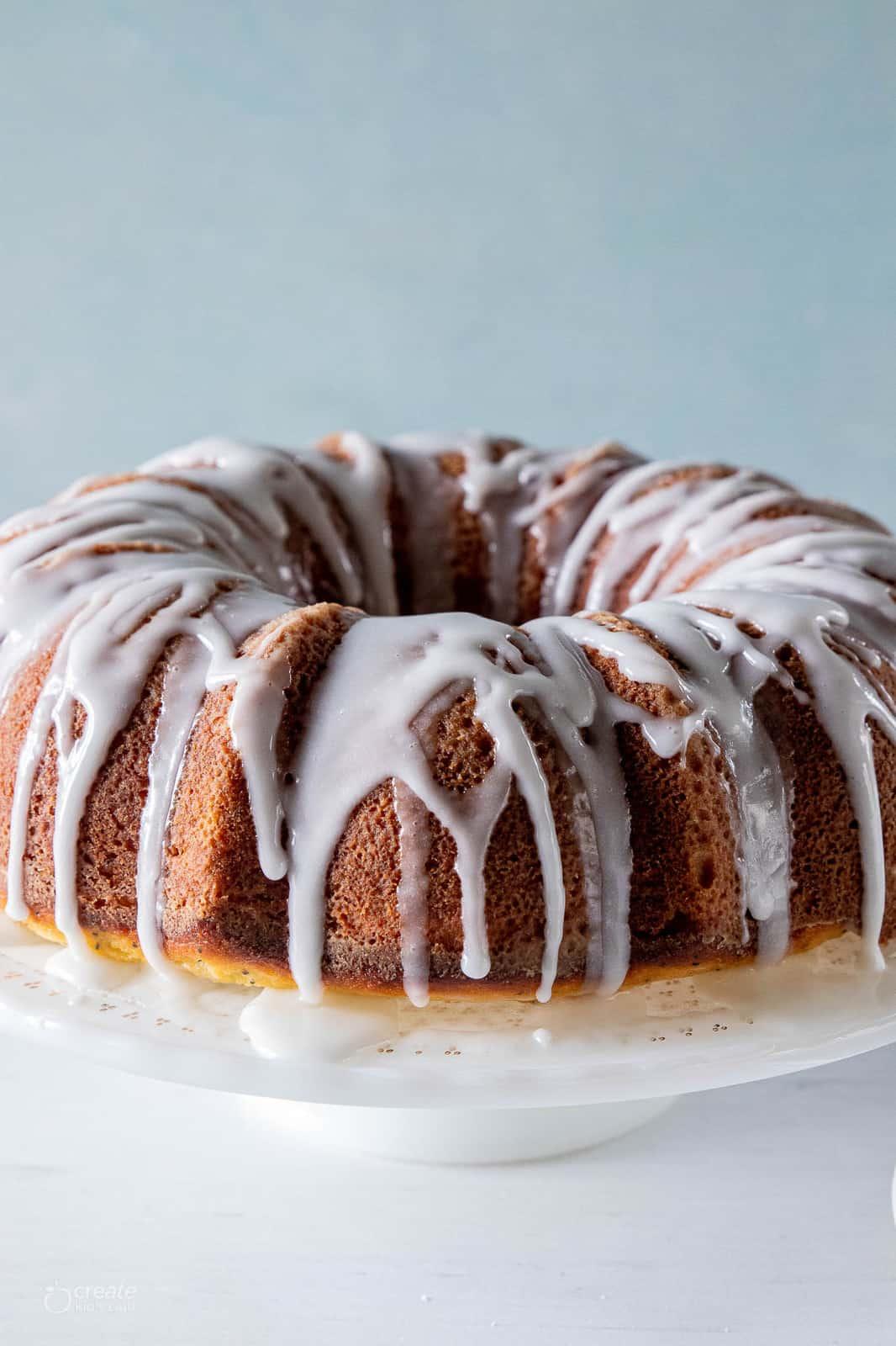 lemon poppyseed bundt cake drizzled with icing
