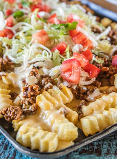 fries topped with taco meat and toppings