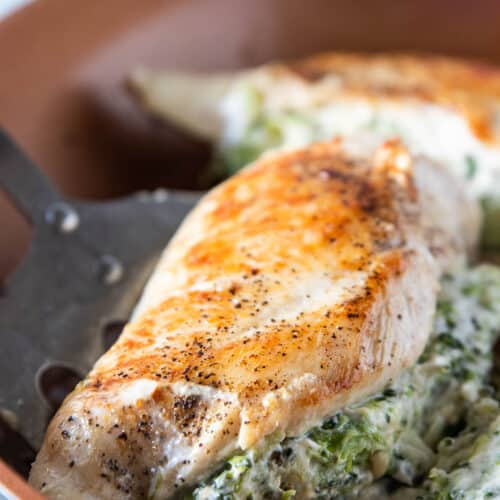 broccoli and cheese stuffed chicken breast in pan