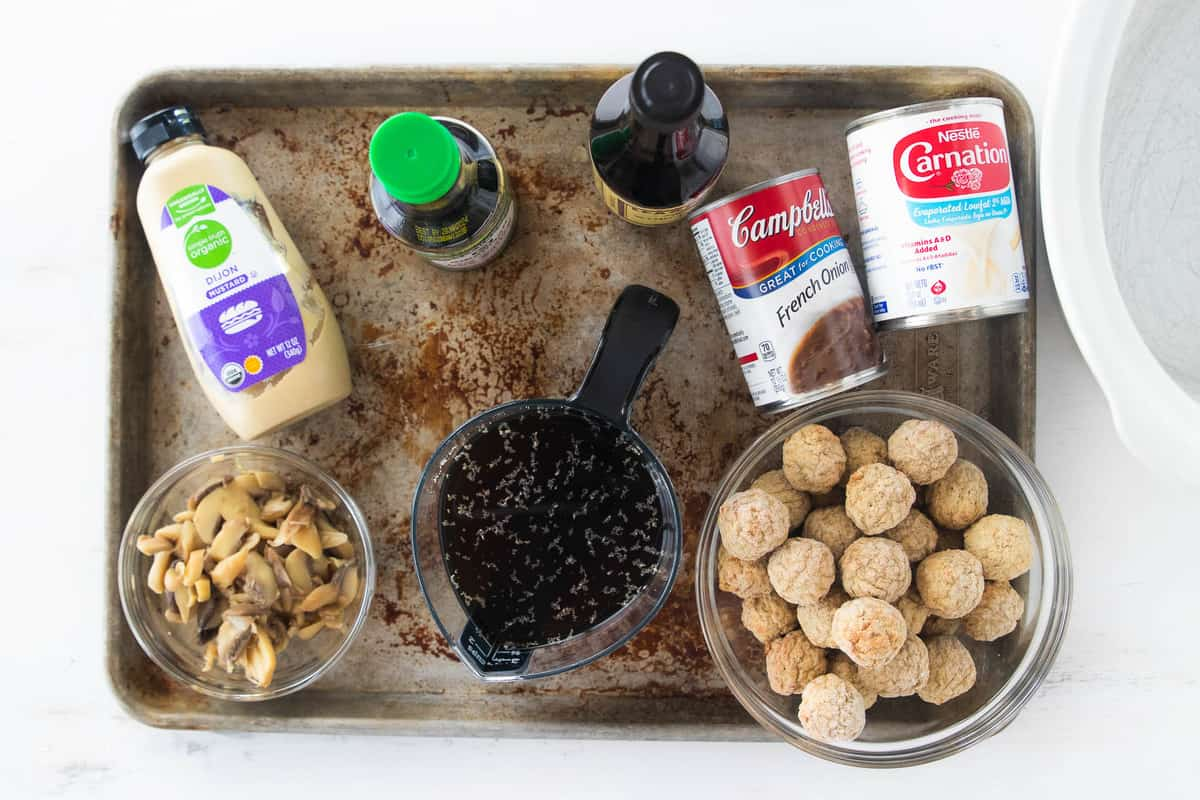 ingredients for swedish meatballs on baking tray