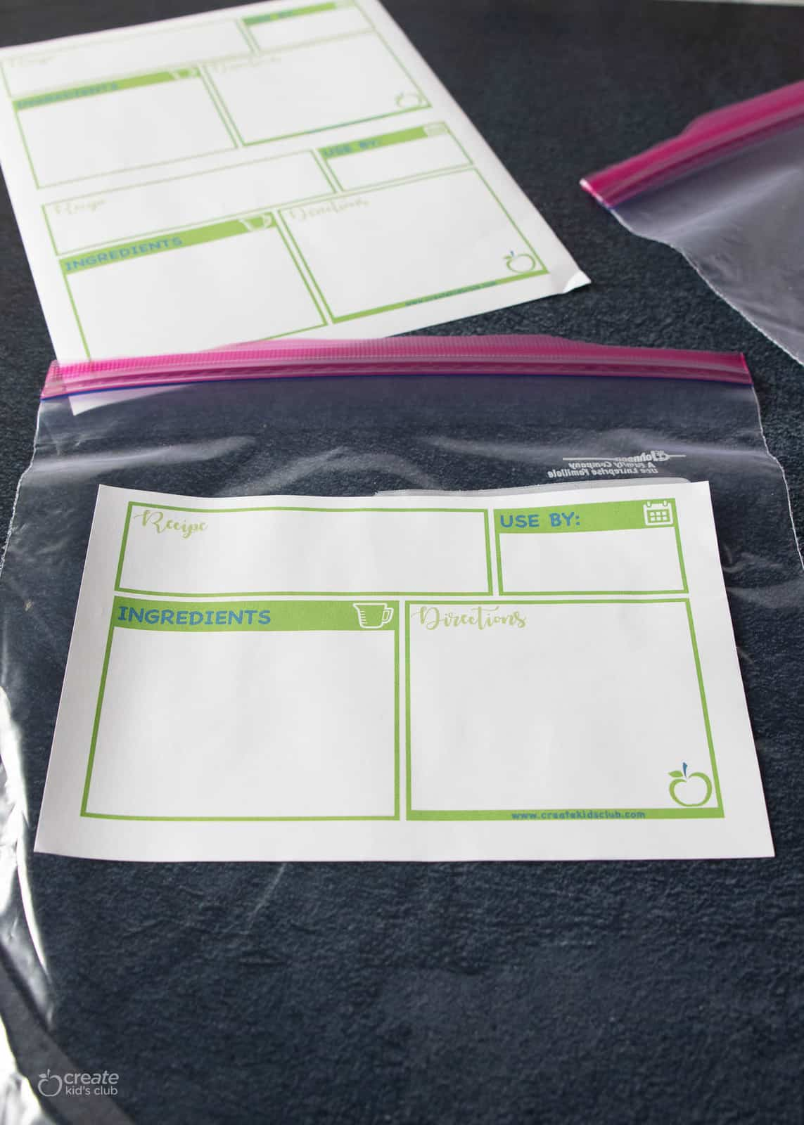 printable freezer meal label on ziplock bag