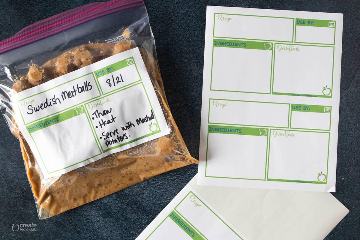 printable freezer meal labels