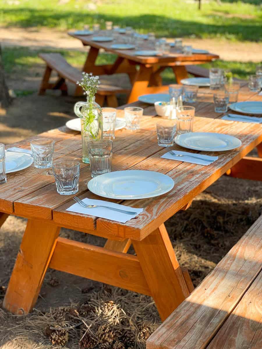 picnic table at dude ranch