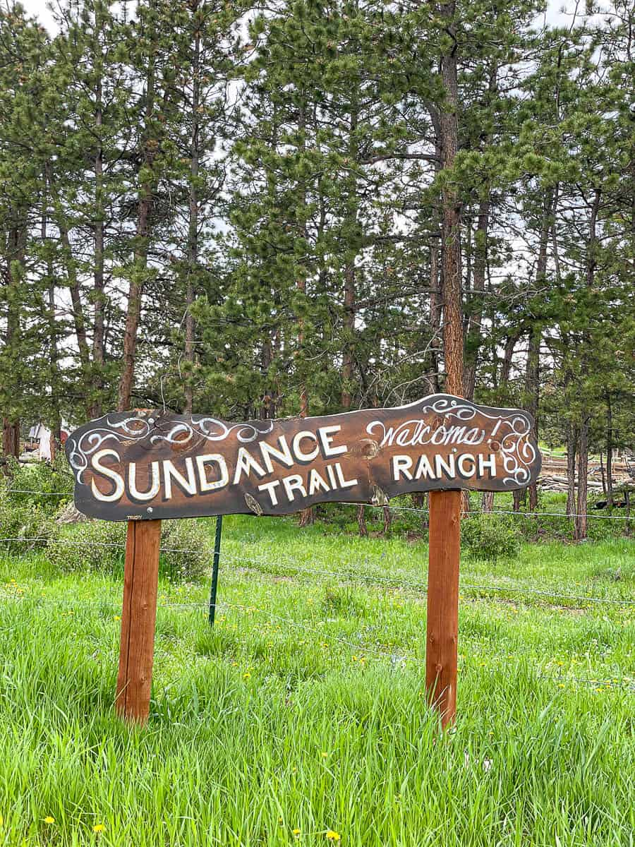 welcome sign at Sundance Trail Ranch
