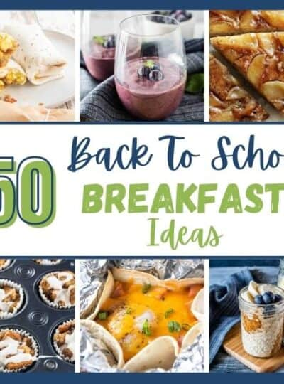 A compiling of breakfast recipe photos including egg burrito, overnight oats, and smoothies with the words 50 back to school breakfast ideas.