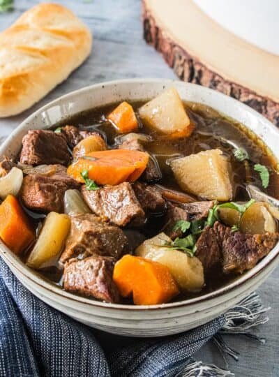 Irish stew in bowl with spoon