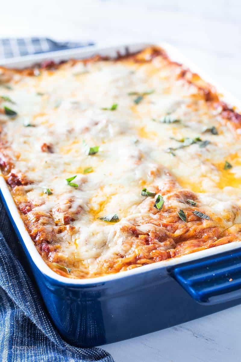 baked lasagna in dish
