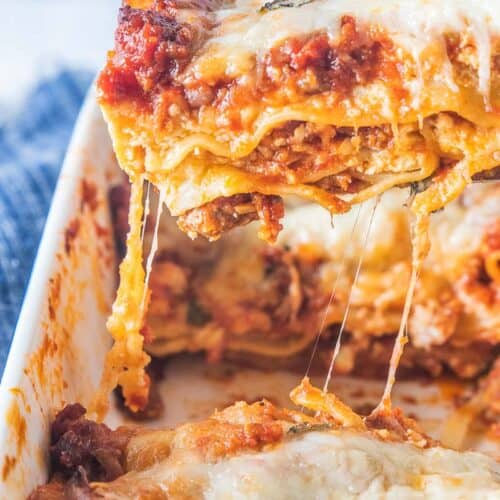 lasagna serving removed from dish