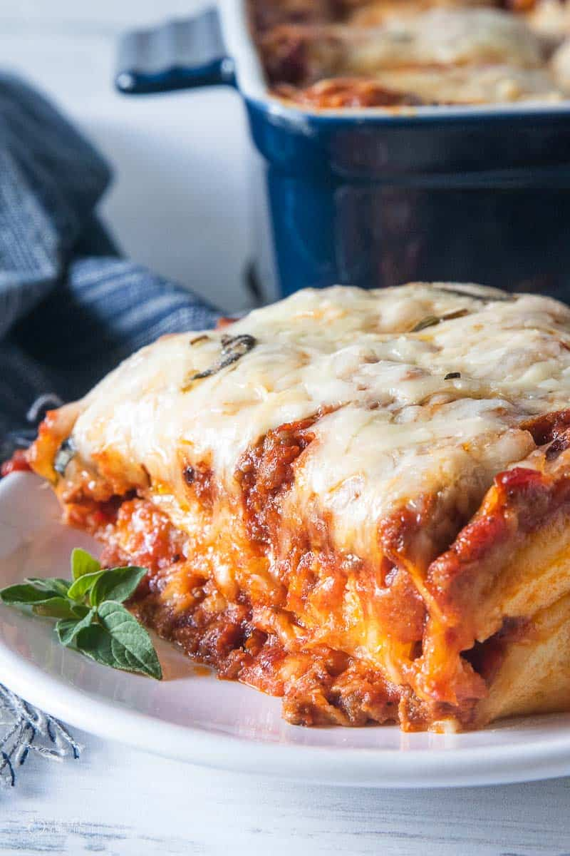serving of lasagna on plate