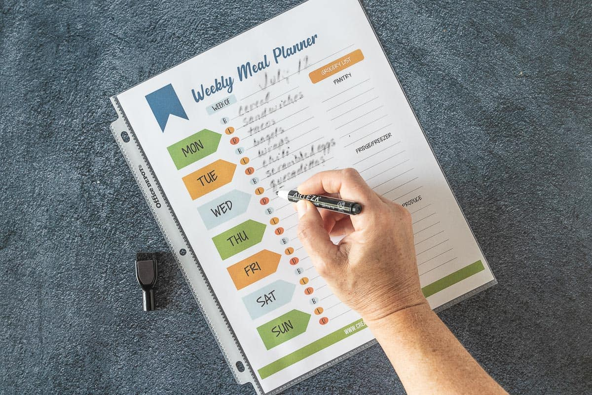 hand writing on dry erase meal planner